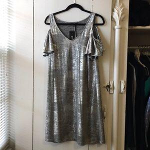 Silver cold-shoulder dress
